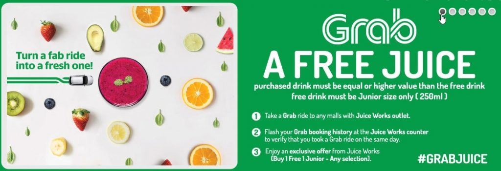 #GrabJuice, Penebusan #GrabJuice, Grab, Works Juice, cawangan Juice Works, Beli 1 Percuma 1 promosi Junior eksklusif, Juice, Ramadhan 2017, Grab Juice