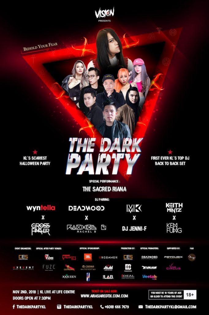 The Dark Party, The Sacret Riana, Asia's Got Talent, KL's Scariest Halloween Party, parti Halloween, Cre' Arts Asia, airasiaredtix, Kuala Lumpur